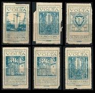 ITALIA REGNO 1927 - Onoranze A VOLTA - Erinnofilo  S.G. - Villa OLMO - COMO - Lotto N. 120 /22 /23 /25 /26 /31 - Erinnofilia