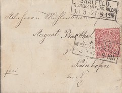 NDP Brief EF Minr.21 R3 Saalfeld In Sachs. Meining. Hildb. 13.3.71gel. Nach Neunhofen R3 Neustadt A.d, Orla 14.3.71 - Norddeutscher Postbezirk