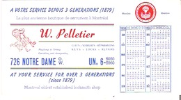 Blotter Buvard  W. Pelletier, 726 Notre Dame Ouest, Monteal, Quebec Clefs - Serrures - Reparations - Blotters