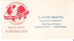 Blotter Buvard  O. Rene Gravel, C.C.S. Courtier En Assurance, Montreal Liverpool And London And Globe $135 000 000 - Bank & Insurance