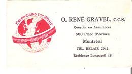 Blotter Buvard  O. Rene Gravel, Courtier En Assurance, Montreal Liverpool And London And Globe Ins. Co. Ltd. - Bank & Insurance