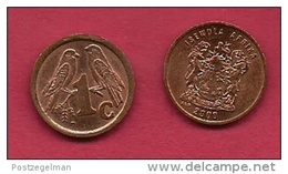 SOUTH AFRICA,  2000, 5 Off Nicely Used Coins 1 Cent Birds C2167 Old Coat Of Arms - Zuid-Afrika