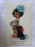 CP Ne Touches Pas à Mon Amie ! I'se Black But I'se Lucky - Fillette Noire Et Chat Noir -Selco - Dolly Série - Illustrateurs & Photographes