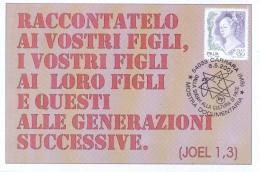 """Italia 2001 Cartolina Ed Annullo Speciali Carrara Mostra """"Dalla Shoah Alla Cultura Di Pace"""" - Jewish"""