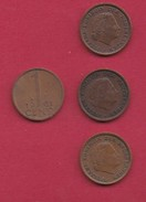 NEDERLAND, 1961, 4 Coins Of 1 Cent, Queen Juliana, Bronze, C2759 - [ 3] 1815-… : Kingdom Of The Netherlands