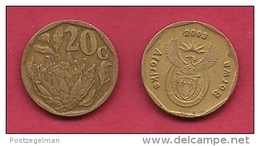SOUTH AFRICA, 2003, 3 Off Nicely Used Coins 20 Cent C2099 - Zuid-Afrika