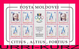 MOLDOVA 1994 International Olympic Committee Centenary Famous People Pierre De Coubertin M-s Mi Klb126-127 Sc140-141 MNH - Olympic Games