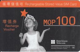 MACAU - Little Girl, Orange Prepaid Card MOP100, Exp.date 31/12/02, Used - Macau