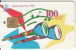 INDONESIA(chip) - Happy New Year 1997/Trumpet, Telkom Telecard 100 Units, Used - Indonesien