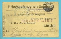 Kriegsgefangenensendung Van SOLTAU Naar LIEGE , Stempel SERVICE GRATUIT + RENSEIGNEMENTS PRISONNIERS BELGES