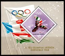 Hungary 1967 Ungarn Mi Block 62(2368) Winter Olympic Games, Grenoble / Olympische Winterspiele, Grenoble **/MNH - Winter 1968: Grenoble