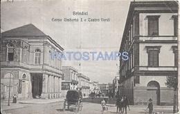67560 ITALY BRINDISI APULIA STREET UMBERTO I & THEATRE VERDI CIRCULATED TO GENOVA  POSTAL POSTCARD - Italia