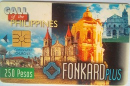 Philippines Phonecard PLDT Fonkard Plus 250 Pesos Used Chip Card Century Old Churches