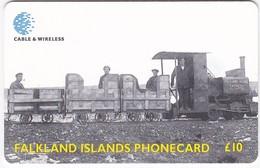 FALKLAND ISLANDS £10 CHIP PHONECARD TRAIN  USED., (TRAY 1)