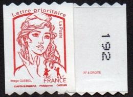 Autoadhésif(s) De France N° 1256.** Marianne De Ciappa Et Kawena. Roulette Prio Sans Le Grammage, Verso à Droite (PRO) - France