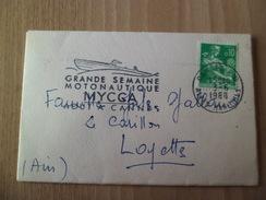 """Petite Lettre Cannes Le 3/6/1960 Pour Loyettes Le N°1231 Seul + Flamme Illustrée"""" Grande Semaine Motonautique- MYCCA"""" TB"""