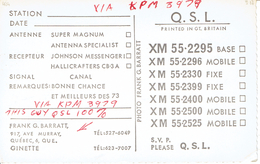 """Old QSL  """"The Mighty St.Lawrence"""" From XM 55-2295 Frank & Ginette G Barratt, Ave Murray, Quebec Canada (1967) - CB"""