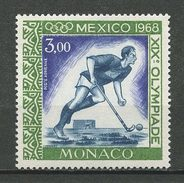 MONACO 1968 PA N° 92 ** Neuf MNH Superbe Cote 1,90 € Sports Hockey Jeux Olympiques De Mexico - Poste Aérienne