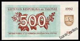 LITHUANIA 500 TALONAS 1992 Pick 44 Unc - Lithuania