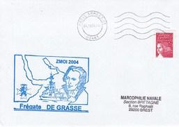 FREGATE  DE GRASSE  ZMOI 2004 PARIS ARMEES 01  4/10/04 - Marcophilie (Lettres)