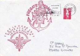 FREGATE DE GRASSE VISITE DU C.E.M.A.  LE G.A.A. DOUIN  BREST NAVAL 17/3/97 - Marcophilie (Lettres)