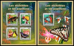 CENTRAL AFRICA 2017 - Orchids And Butterflies, M/S + S/S Official Issue - Butterflies