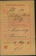 1899, Ortsdruck-Postschein RECKLINGHAUSEN - Allemagne