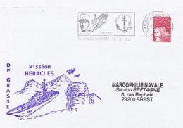 FREGATE DE GRASSE  MISSION HERACLES FLAMME  ET CACHET P.A. CHARLES DE GAULLE 18/3/02 - Marcophilie (Lettres)
