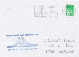 FREGATE DE GRASSE  BICENTENAIRE USS CONSTITUTION BOSTON PARIS NAVAL  28/7/98 - Marcophilie (Lettres)
