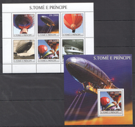 G53 2003 S.TOME E PRINCIPE SPACE AVIATION DIRIGEABLES 1KB+1BL MNH - Zeppelins