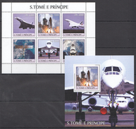 G54 2003 S.TOME E PRINCIPE SPACE AVIATION 1KB+1BL MNH - Airplanes