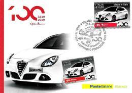 [MD0662] CPM - CENTENARIO DEL MARCHIO ALFA ROMEO - POSTE ITALIANE - CON ANNULLO 20.3.2010 - NV - Cartoline