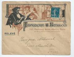 """Semeuse 25cts Sur Enveloppe Illustrée """"imprimerie Langlois Fbg Saint Martin à Paris - 1877-1920: Période Semi Moderne"""