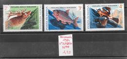 Animaux Divers Cerf Poisson Geai - Roumanie N°3498 à 3500 1984 ** - Stamps
