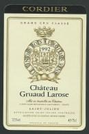étiquette Vin   Chateau   Gruaud Larose  Grand Cru Classé   St Julien  1992  Cordier - Bordeaux