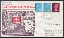 1973 GB Holyhead Paquebot Cover MS HAWKSTONE, Robert Bornhofen Hamburg - 1952-.... (Elizabeth II)