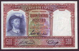 ESPAGNE - 500 PESETAS Jùan Sebastiàn De Elcano Du 25/04/1931 - [ 2] 1931-1936 : Repubblica
