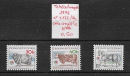 Animaux Divers Ferme élevage Cheval Mouton Vache - Tchécoslovaquie N°2172 à 2174 1976 ** - Farm