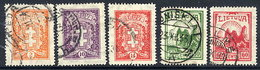 LITHUANIA 1933 Arms And Castle Definitive Set Used  Michel 380-84 - Lithuania