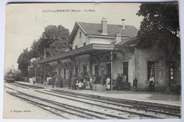 CPA 55 Ligny En Barrois Gare Chemin De Fer Animée Arrivée Du Train - Ligny En Barrois