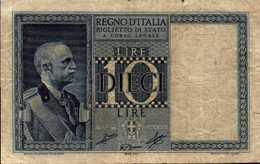ITALIE BILLET D ETAT 10 LIRE Du 1939/44  Pick 25c - [ 2] 1946-… : Républic