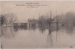 PORT - MARLY - La Station Des Tramways Sous L'Eau Le 1° Février 1910 - Série Crues De La Seine. - Other Municipalities