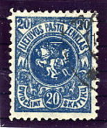 LITHUANIA 1921 Arms 20 C. Verticalal Watermark, Perforated 11¼ Used.  Michel 63 YA - Lithuania