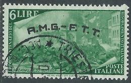 1948 TRIESTE A USATO RISORGIMENTO 6 LIRE - L17 - 7. Triest