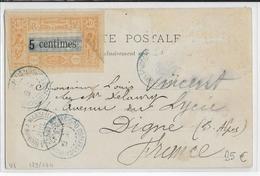 1902 - YVERT N°28 (MANQUE UN TIMBRE) Sur CARTE De DJIBOUTI => DIGNE - CACHET MARITIME LV N°3 - Briefe U. Dokumente