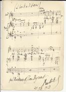 """MUSIQUE: 6 Portées Musicales Manuscrites Datées 1913-1914. Musiciens à IDENTIFIER . """"Pour Jane Bergeaud (Opéra)"""" . - Autographs"""