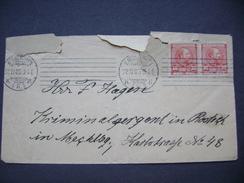 Cover 1905 Kobenhavn - Rostock (Mecklb.) Germany - Stamp Band Of Two 10 Ore - 1864-04 (Christian IX)