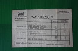 CHATEAU VALMY - TARIFFARIO VENDITA VINI - ANNI 70 - Agricoltura