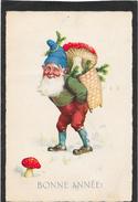 Lutin, Nain, Gnome, Champignons - Hotte - Bonne Année - Fantasie