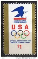 La Poste Americaine, Sponsor Des J.O. 1992.  Un T-p Neuf ** 1991  ($1.00) - United States